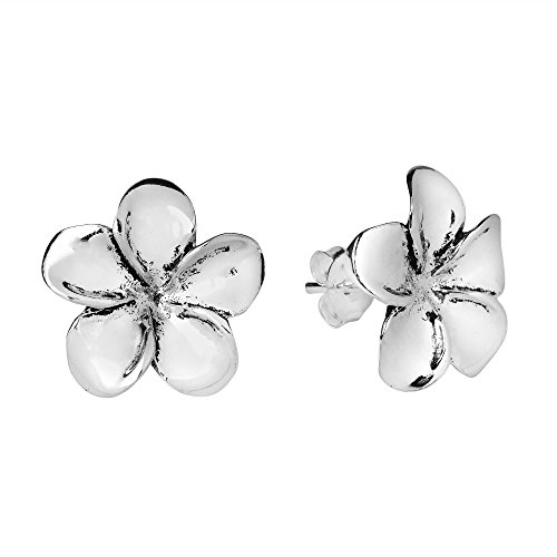 Plumeria Flower 15 mm .925 Sterling Silver Post Earrings (Oxidized Earrings Butterfly)