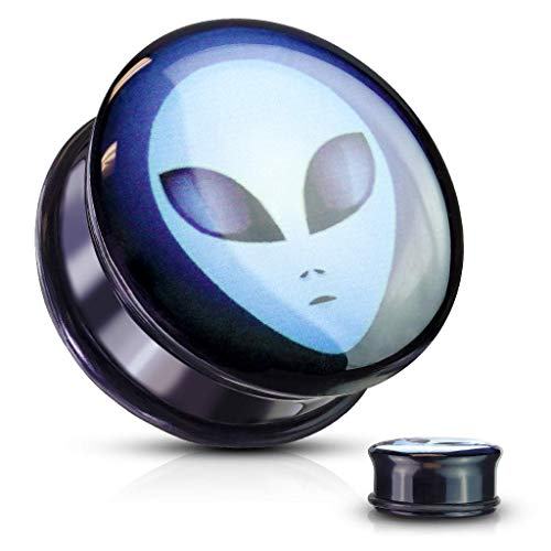 Covet Jewelry Alien Inlaid Single Flared Black Acrylic Solid Plugs with O-Ring (1