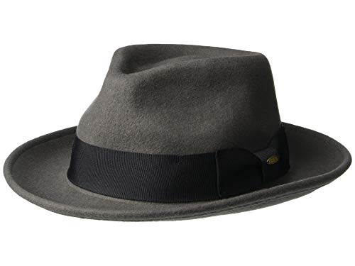 (Scala Classico Men's Crushable Water Repelant Wool Felt Fedora Hat, Grey, Large)