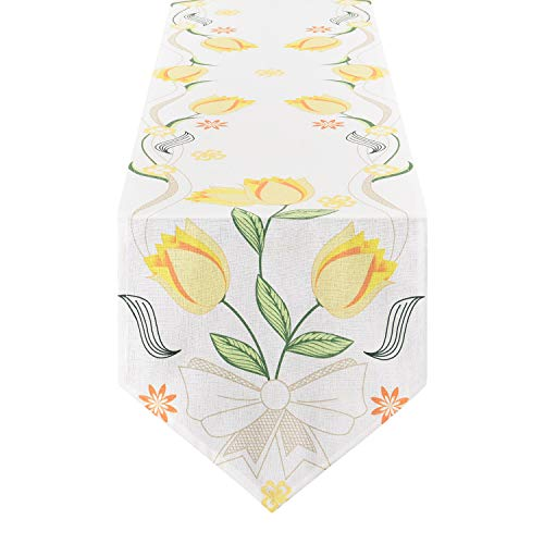 (Smurfs Yingda Tulip Flowers Table Runner Yellow Floral Plant Table Runner for Catering Events, Indoor and Outdoor Parties, Daily Use, 12