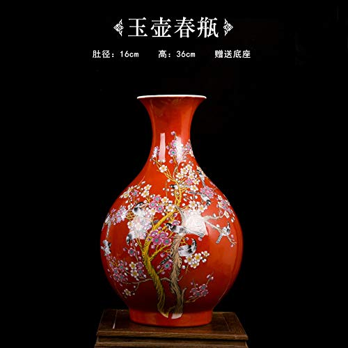 Decorative Vases for Living Room Table,Handmade Vintage Chinese Ceramic Red Pot Shaped Vase for Home Decor,Hand Painted Colorful Birds and Flowers,Modern Elegant China Porcelain Artwork