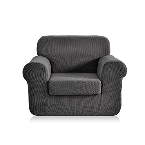 CHUN YI Jacquard Armchair Covers 2Piece Stretch Polyester Spandex Fabric Chair Slipcover1 Seater Sofa Protector Chair Gray
