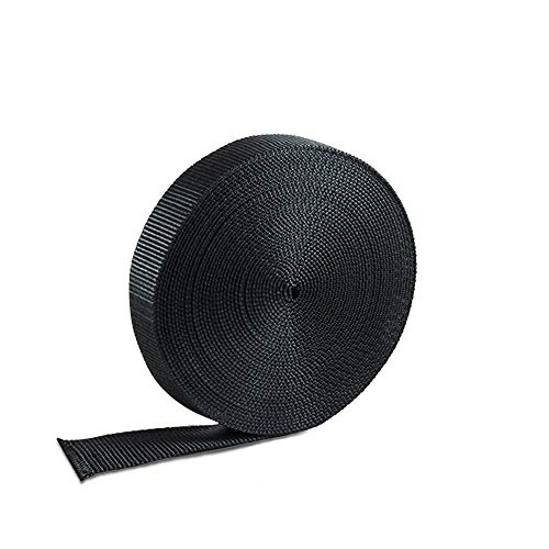 (Houseables Nylon Strapping Webbing Material, 1 Inch W x 10 Yard, Black, Heavy Climbing Flat Strap, UV Resistant Fabric, Web for Bags, Backpacks, Belts, Harnesses, Slings, Collars, Tow Ropes)