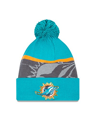 - NFL Miami Dolphins Gold Collection Team Color Knit Beanie, One Size fits All, Teal/Gray