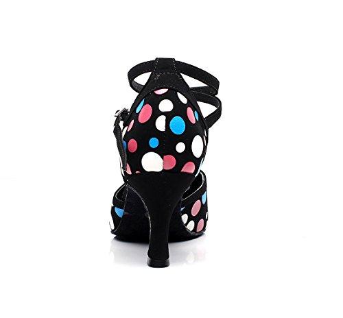 Minishion Femmes Filles Dot Cheville Sangle Synthétique Laton Professionnel Chaussures De Danse De Mariage Pompes De Soirée Noir-7.5cm Talon