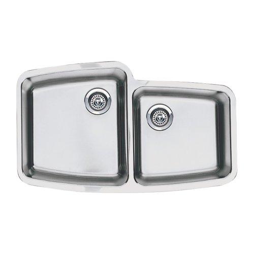 1.75 Medium Double Bowl - Blanco BL441002 Performa Medium 1-3/4-Inch Bowl Undermount Sink, Satin Polished