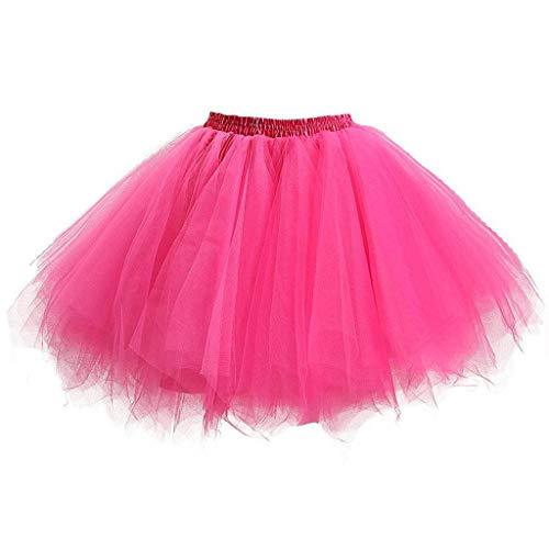 Girls Kids Baby Solid Elastic Band Tulle Tutu Skirt Ballet Dance Fancy Costume(Hot Pink,Free -