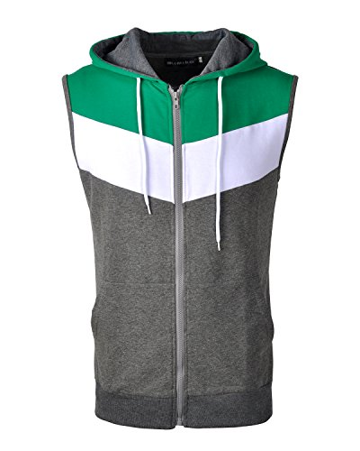 Half Track Tank - Mooncolour Men's Slim Fit Sleeveless Lightweight Zip-up Vest Tank Hoodies