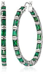 "CZ by Kenneth Jay Lane ""Trend Cubic Zirconia"" Rhodium-Plated Emerald-Shape Hoop Earrings, 12 CTTW"
