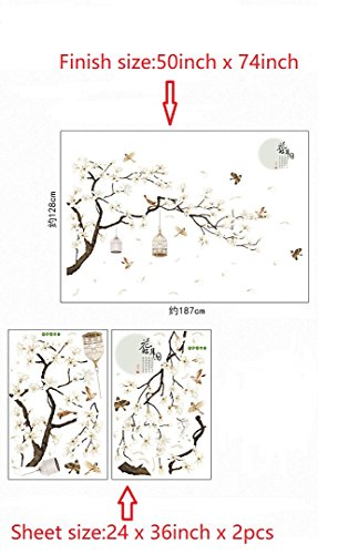 Amaonm Chinese Style White Flowers Black Tree and Flying Birds Wall Stickers Removable DIY Wall Art Decor Decals Murals… 6