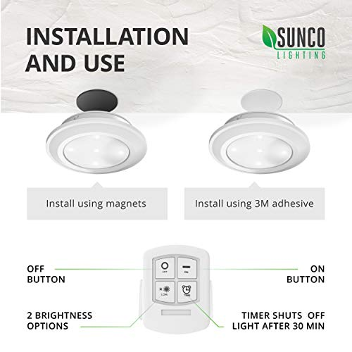 Sunco Lighting 10 Pack LED Puck Light with Remote Control,  5 W, 30 Lumens,  4000K Cool White, Wireless, Mounting Equipment Included (3M or Magnet)
