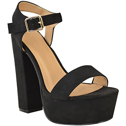 Size Sandals Chunky Party Thirsty Platform Shoes Suede Summer High Faux Black Strappy Heel Fashion Womens P1Yfx