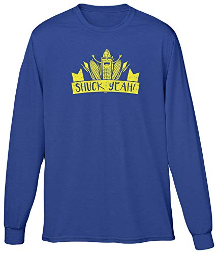 Blittzen Mens LS Shuck Yeah - Corny Pun - Farm Joke, XL, Royal Blue -