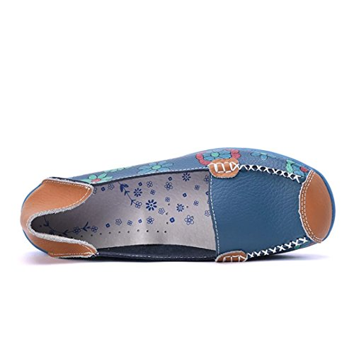 Joansam Donna Colore Chiaro Fiore Stampato Slip On In Pelle Scarpe Basse Blu