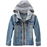 Mallimoda Kids Boys Girls Hooded Denim Jacket Zipper Coat Outerwear