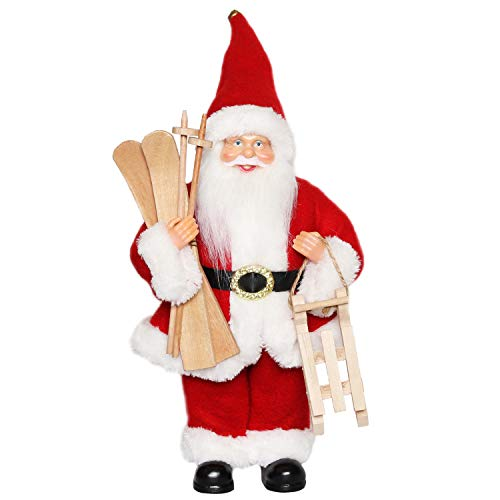 "CHENGMON Christmas Santa Claus Ornament Decoration Figurine Collection Standing Tradition Tabel Decor Red with Sleigh Ski 12"" Inch"