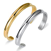 Besteel Jewelry Stainless Steel Cuff Bracelets for Women Band Elegant Indent 2 Pcs Set