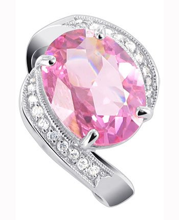 Gem Avenue 925 Sterling Silver Oval Pink ice Cubic Zirconia CZ with Accents Ring Size 7