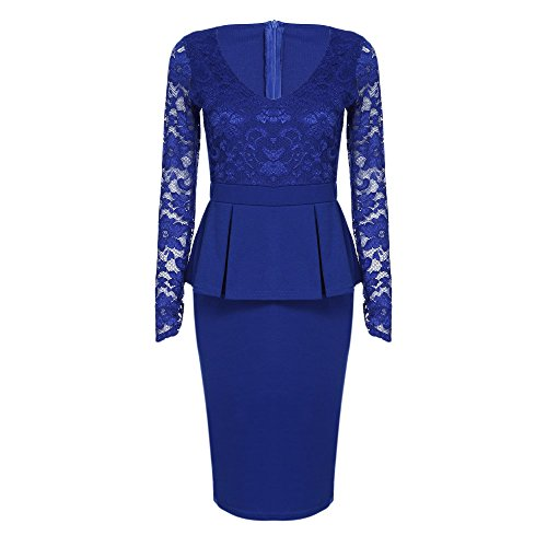 KCatsy Sexy V Neck Long Sleeve See-Through Lace Spliced Bodycon Women Dress ()
