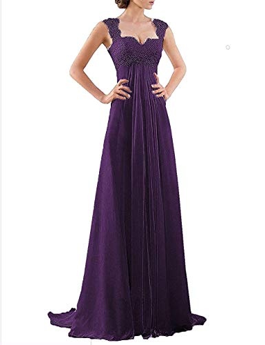 20KyleBird Women's Sweetheart Lace Bridesmaid Dresses Eggplant Purple Chiffon Sleeveless Long Evening Party Formal Gown Empire Waist Size 18