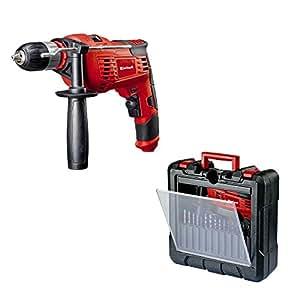 Einhell TC-ID 1000 Kit - Pack taladro percutor y 15 piezas de perforación, 1010 W, 230V, color rojo y negro (ref. 4259838)