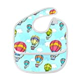 Flying Hot Air Ballons In Sky Custom Soft Waterproof Washable Stain And Odor Resistant Baby Feeding Dribble Drool Bibs Burp Cloths For Infant Overall For 6-24 Months Kids Gifts