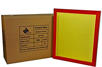 20 x 24 Inch Pre-Stretched Aluminum Silk Screen Printing Frames with 200 Yellow Mesh (6 Pack Screens)