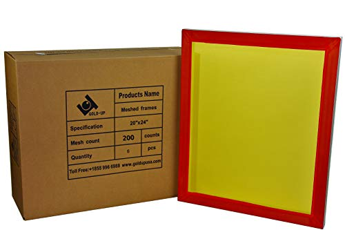 - 20 x 24 Inch Pre-Stretched Aluminum Silk Screen Printing Frames with 200 Yellow Mesh (6 Pack Screens)