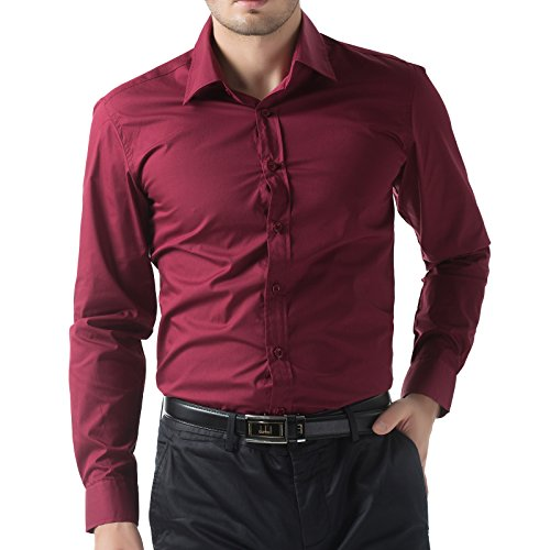 Stylish Teacher's Dress Shirts Party Tops (3XL, Red 52-5) -