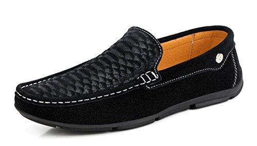 Tda Menns Uformelle Slip-on Semsket Kjøre Walking Loafers Båt Sko Svart