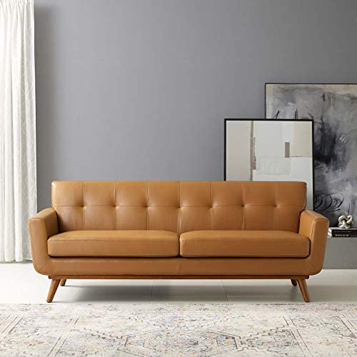 Modway Engage Top-Grain Leather Living Room Lounge Sofa