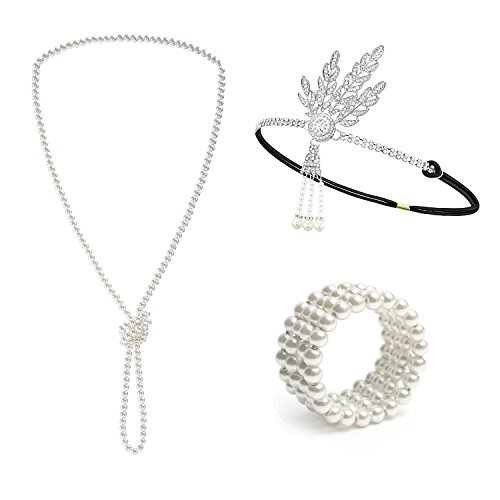 - Metme 1920s Great Gatsby Accessories Set Flapper Headband Pearl Necklace Stretch Bracelet