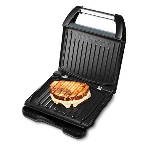 chollos oferta descuentos barato George Foreman 25041 56 Barbacoa de contacto Family Steel para panini y sándwiches 28 x 17 gran superficie de parrilla para hasta 5 porciones acero inoxidable gris