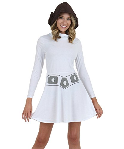 Mighty Fine womens Princess Leia Women's Hooded Skater Dress Large (Adult Princess Fancy Dress)
