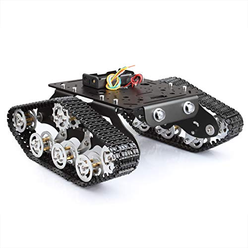 MOUNTAIN_ARK STEM Education Tracked Robot Smart Car Platform No Assembling, with Damping Effect for Arduino Raspberry Pi DIY Kit, 11.0x9.8x4.5inch, 3.28lb