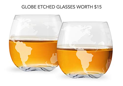 0c0054f9f2a Whiskey Decanter Set World Etched Globe Decanter Antique Ship ...
