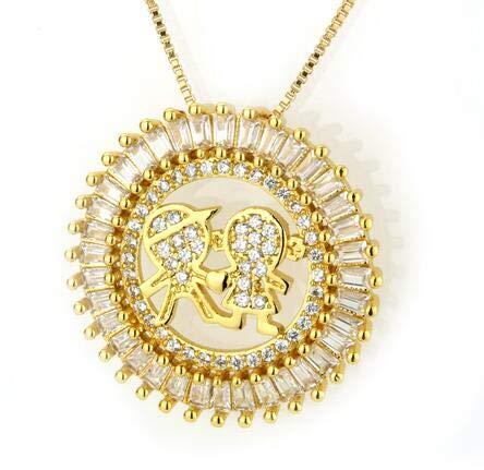 (LTH12 Pendant Necklaces - Golden Color Copper Cubic Zirconia Child Diameter 2.7cm Round Pendant Necklaces Women's Fashion Jewelry Colar Feminina 1 PCs )