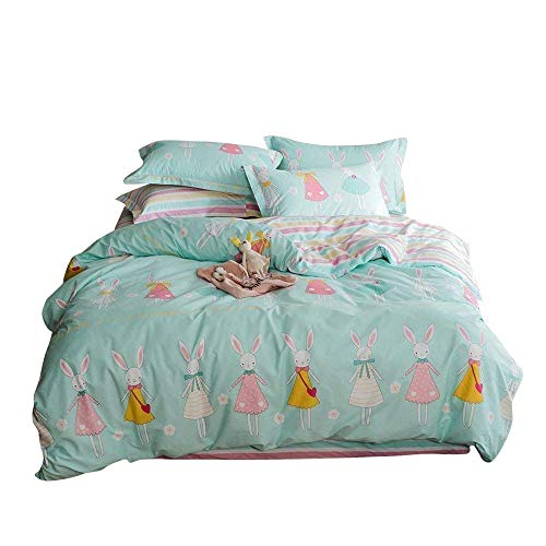 EnjoyBridal Green Cotton Rabbit Bedding Duvet Cover Sets Twin Size Kids Children Girls 3 Pieces Bed Sets Included Comforter Cover with Zipper+2 Pillow Shams 4 Corner Ties(Twin, GreenA)