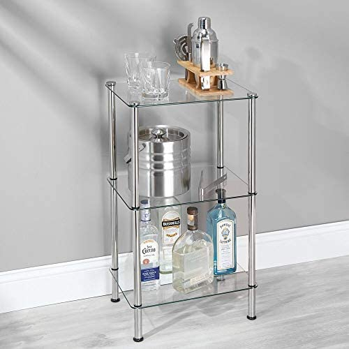 home, kitchen, storage, organization, racks, shelves, drawers,  standing shelf units 4 picture mDesign Bathroom Floor Storage Rectangular Tower, 3 Tier promotion