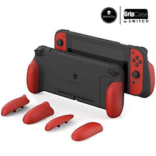 Skull & Co. GripCase: A Dockable Protective Case with Replaceable Grips [to fit All Hands Sizes] for Nintendo Switch [No Carrying Case] - Mario Red [Super Mario Odyssey Edition]