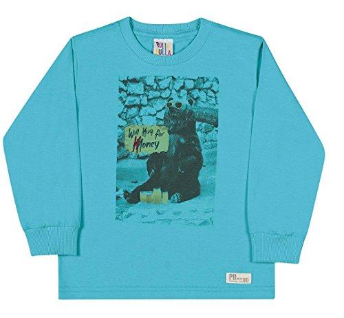 Honey Bear Hugs - Pulla Bulla Toddler Boy Long Sleeve Shirt Graphic Tee 1 Year - Turquoise