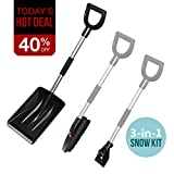 multifun Snow Brush Kit, 3-in-1 Snow Shovel with Ice Scraper and Snow Brush, 3 Piece Collapsible Design Portable Emergency Snow Shovel Set for Car Truck Camping and Other Outdoor Activities