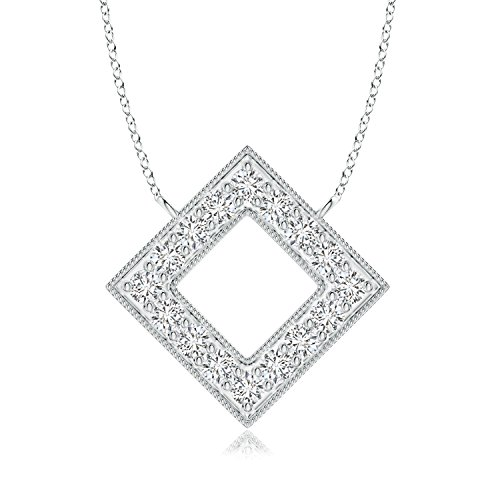 Diamond Square Necklace - Lab Grown Diamond Geometric Square Necklace in 14k White Gold
