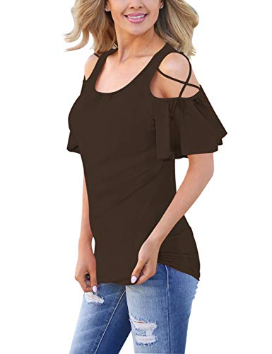Top Cross Criss Knit (liher Juniors Shirts Short Sleeve Cold Shoulder Criss Cross Womens Tops)