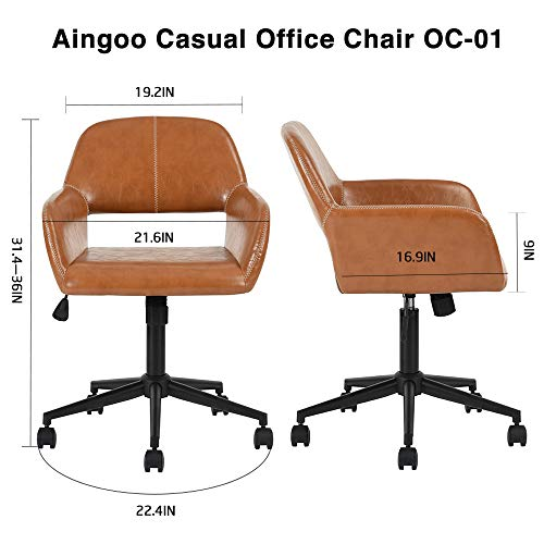 Aingoo Vintage Office Chair Mid Back Swivel/Rolling/Tilting Accent Adjustable Computer Desk Armchair Brown PU Leather Reception Chair for Home Executive CH-03 by Aingoo (Image #2)