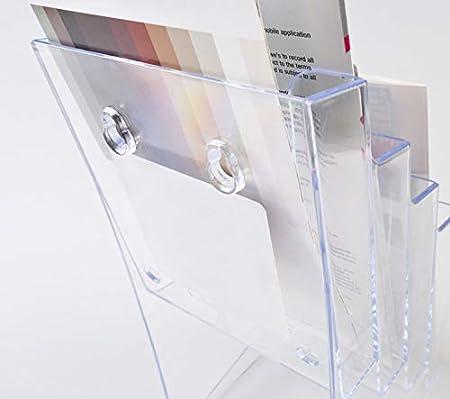 FixtureDisplays 4 Tier Leaflet Holder Bi-fold 6 Literature Holder Clear Acrylic Wall Mountable 14914