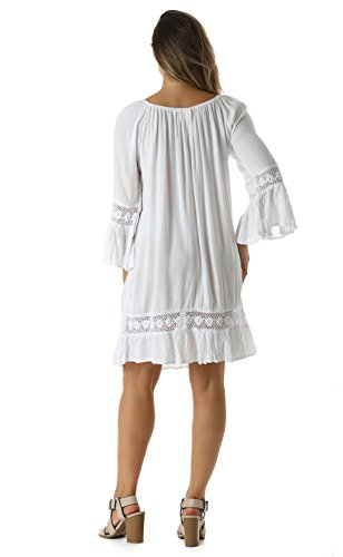 With Sun Smocking Top Crochet Dress Casual White Riviera 6qzxIUdwq