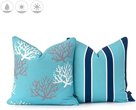 Hofdeco Beach Nautical Indoor Outdoor Pillow Cover ONLY, Water UV Resistant for Patio Lounge Sofa, Aqua Navy Living Coral Stripes, 18 x18 , Set of 2