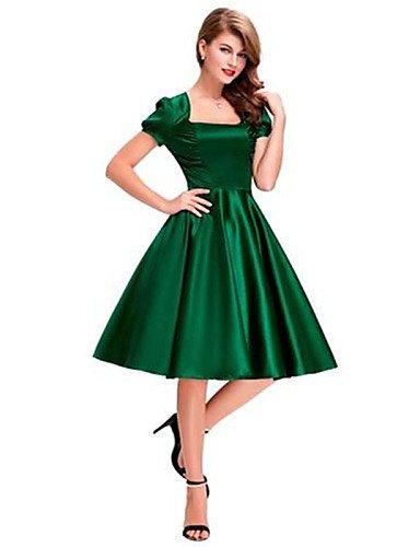 PU&PU Robe Aux femmes Gaine Simple,Couleur Pleine Col Carré Au dessus du genou Polyester , green-s , green-s