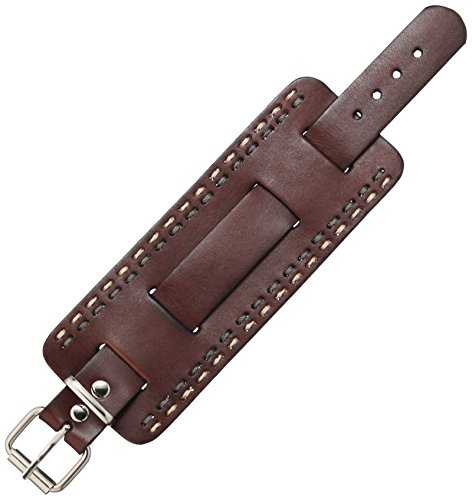 Nemesis GBHD 65mm Heavy Stitching Wide Patent Leather Brown Watch Bracelet
